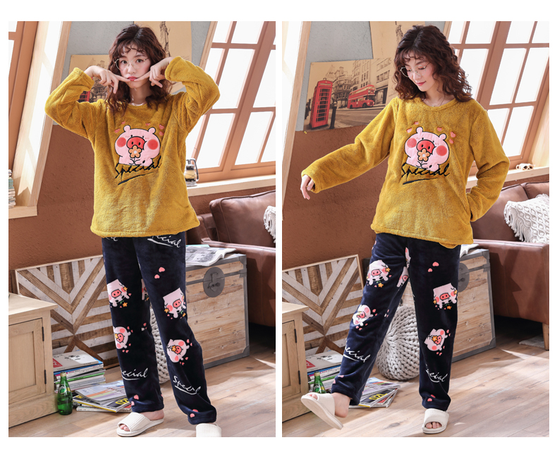 Long Sleeve Warm Flannel Pajamas Winter Women Pajama Sets Print Thicken Sleepwear Pyjamas Plus Size 3XL 4XL 5XL 85kg Nightwear 396