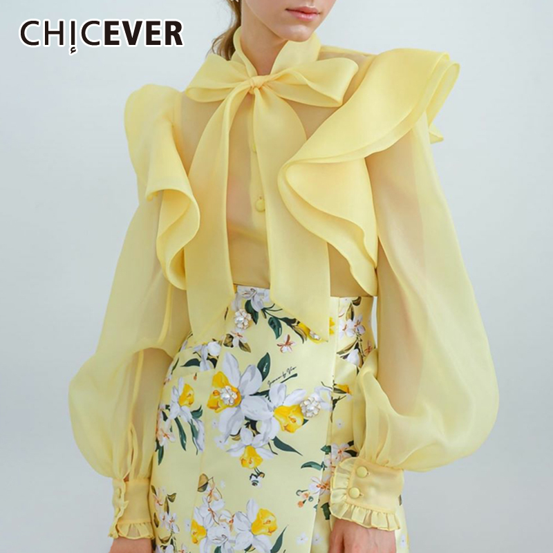 CHICEVER Perspective Mesh Bowknot Women's Shirt Stand Collar Lantern Sleeve Ruffles Blouse Female 2019 Fashion New Clothing