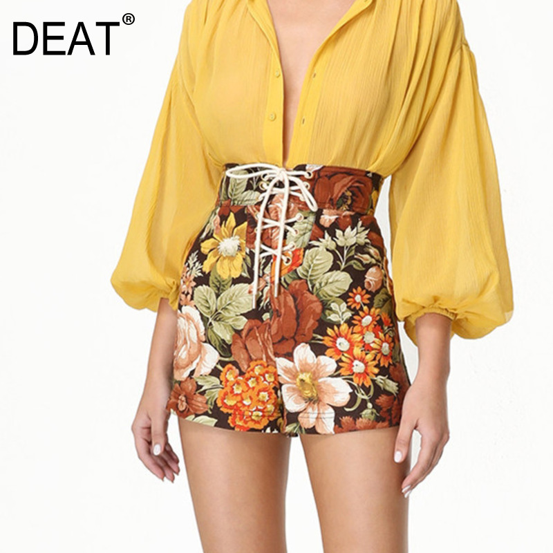 DEAT 2020 New Summer Fashion Women Run Way Styles High Waist Drawstring Printed Hot Shorts Female Vacation WL15204L