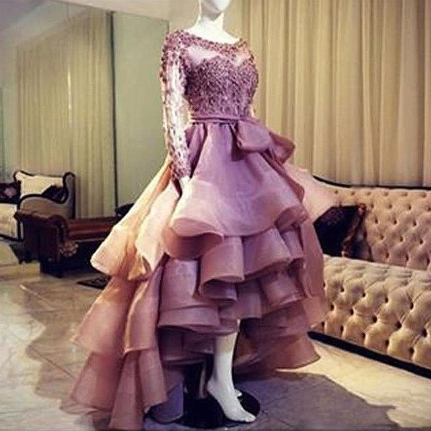 Chic Organza High Low Prom Dresses 2019 Lace Appliques Ruffles Tiered Evening Dress Scoop Sweep Train Special Occasion Gowns