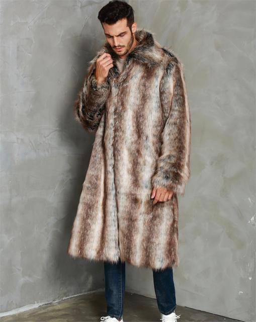 Men's Winter Long Coat Open Stitch Coats Warm Thick Outwear Men Fur Collar Jacket Faux Fur Parka Thicken Warm Windbreaker Male