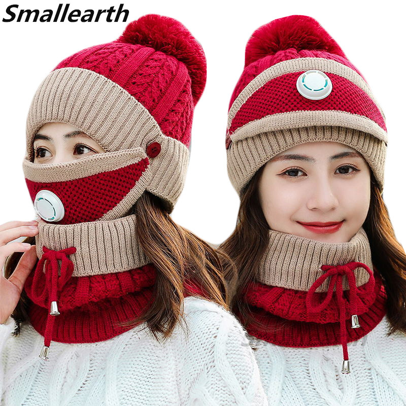 New Winter Mask Hat Scarf Set Women Warm Beanies Hat For Girl Ring Scarf Winter Plush Pompom Hats Knitted Cap Scarf 2 Pieces Set