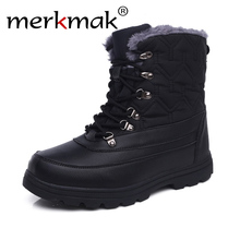 Winter British leather men Mid-Calf boots warm cotton boots retro trend Army boots outdoor safety boots large size work men boot