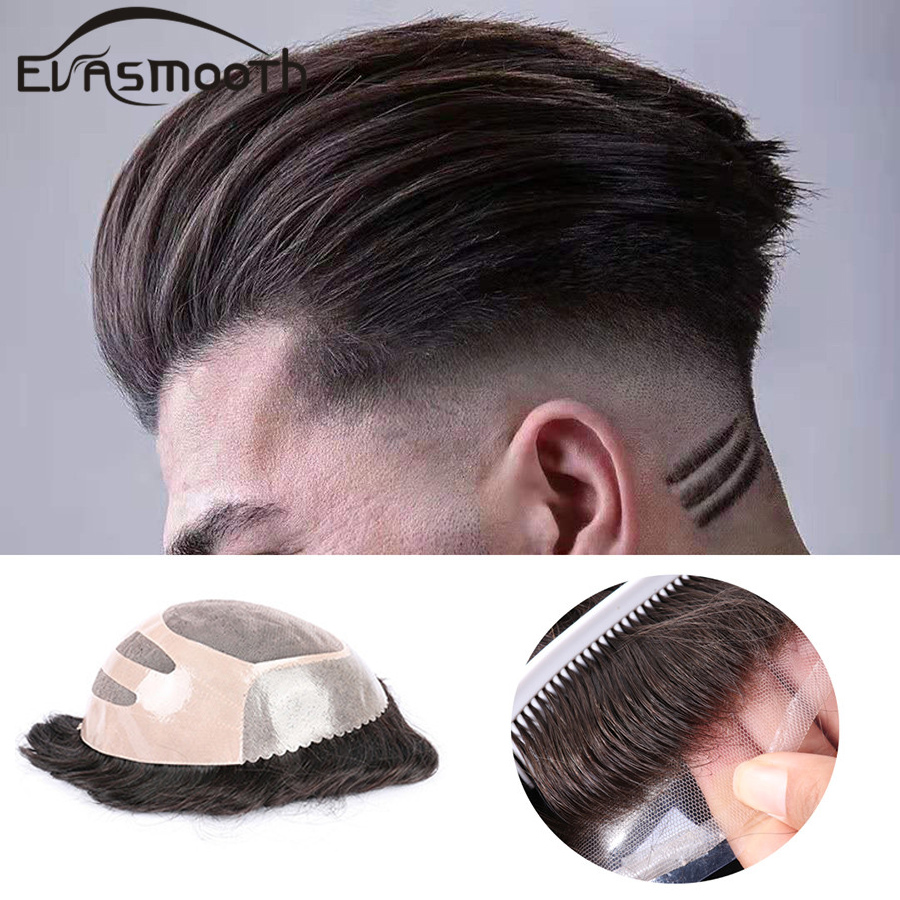 Free Shiping Natural Hair Wig For Men Hair Prosthesis Toupee Men Adhesive Human Hair Extensions Lace Hair Replacement Systems