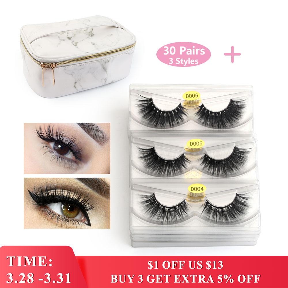 Wholesale 20/30 Pairs 3D Mink Lashes Natural Volume Soft Lashes Long Eyelash Extension Mink Eyelash For Makeup