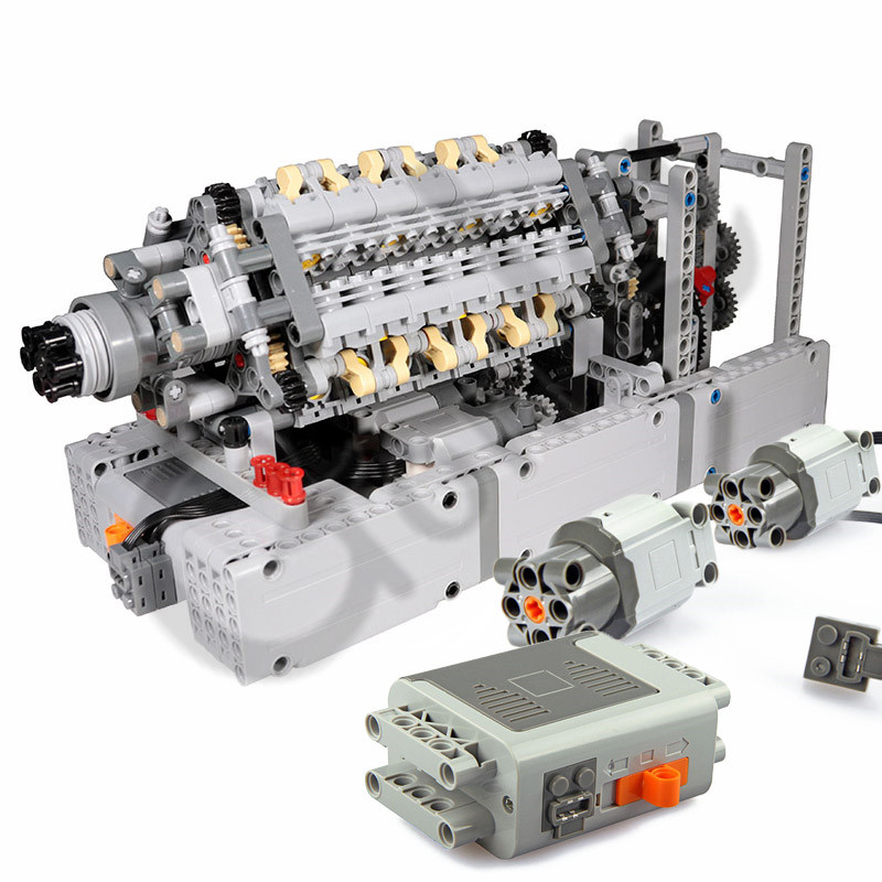 NEW V42 Engine Cylinder Engine Buliding Blocks Assembled Bulk Parts With Power Function Motors Compatible With Logos Technic Car