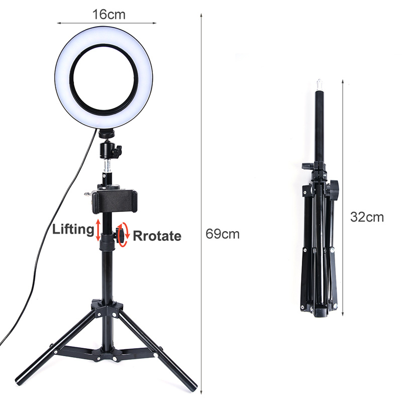 6inch 16cm Selfie LED Ring Light For Youtube Tiktok Makeup Video Light Usb Plug With Tripod For Phone