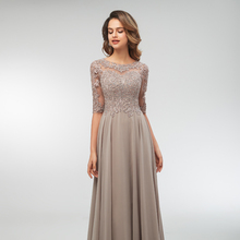 Maxi-Dress Evening Beaded Lace Applique Mother-Of-The-Bride-Dresses Half-Sleeves Formal