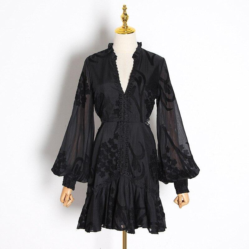Nouveau magasin signe sexy rosée taille col en v lanterne manches de nouveau fonds d'hivers lourd broderie robe blanche femme - 4