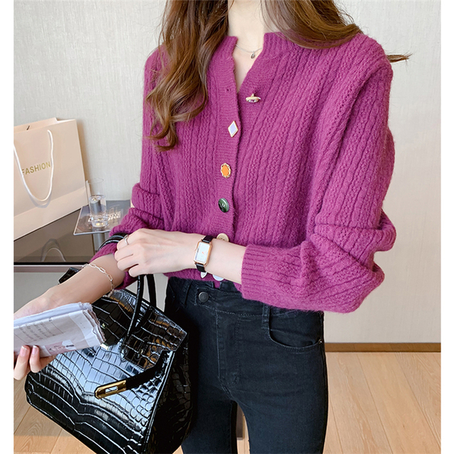 Ailegogo New 2020 Autumn Winter Women's Sweaters V-Neck Buttons Short Cardigans Fashionable Korean Ladies Knitwears SWC2217 4