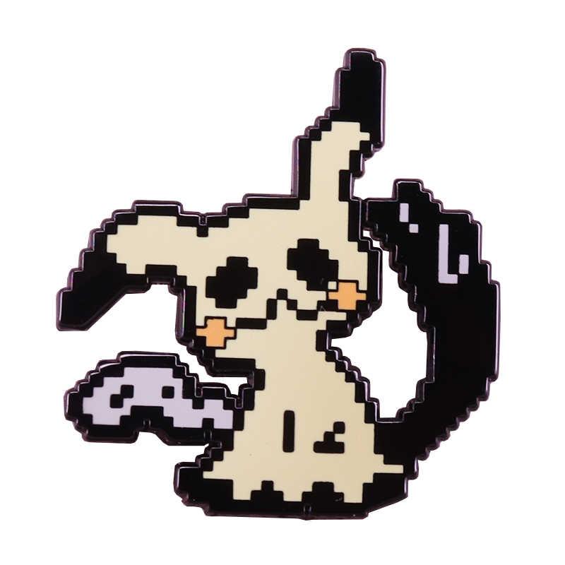 Pixel Pikachu dello smalto pin simpatico cartone animato spilla Pokemon pop-cultura distintivo gioielli anime creativo zaino accessori