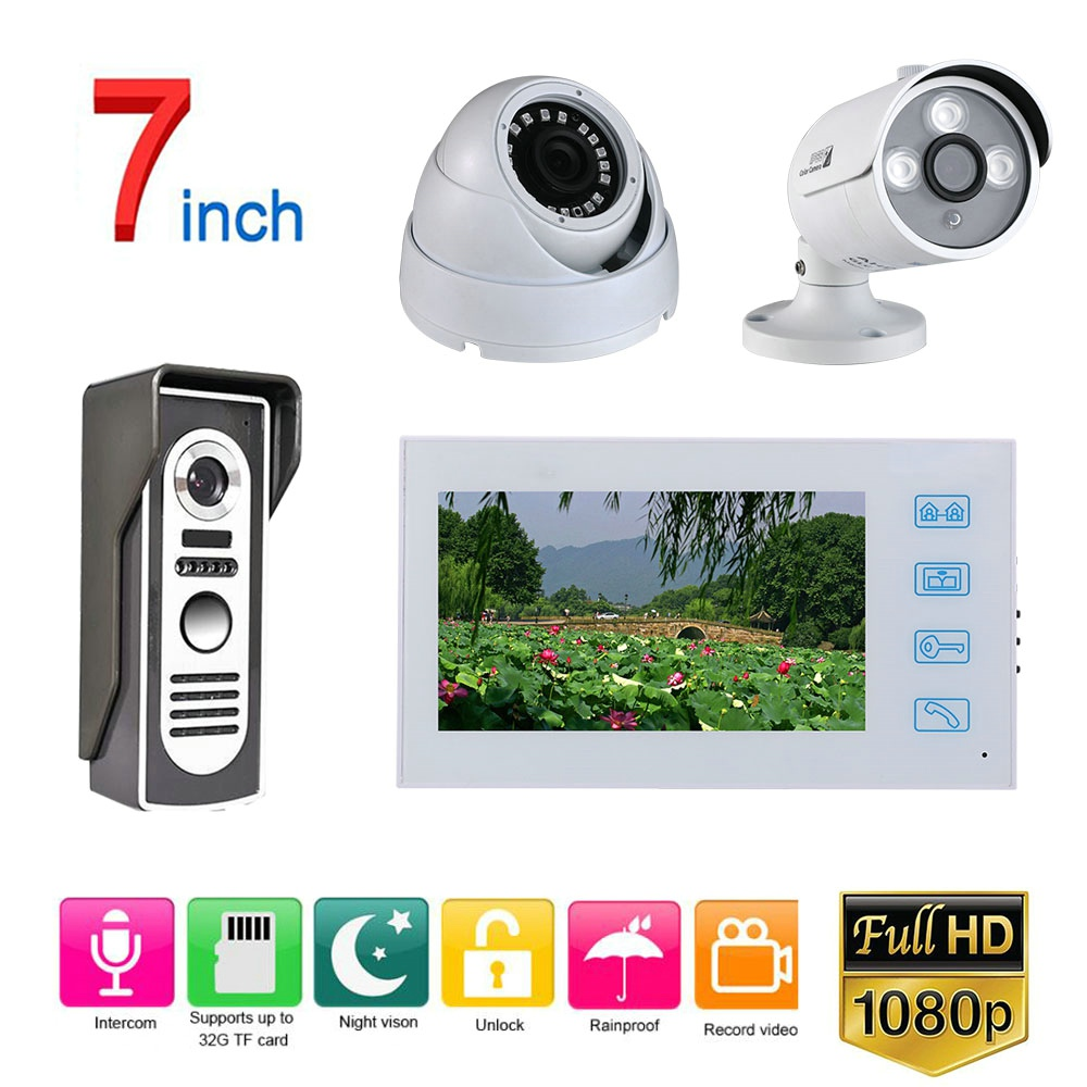 Weatherproof Night Vision 7'' Record Wired Video Doorphone Doorbell Intercom System with AHD 1080P Camera 2CH Security Camera