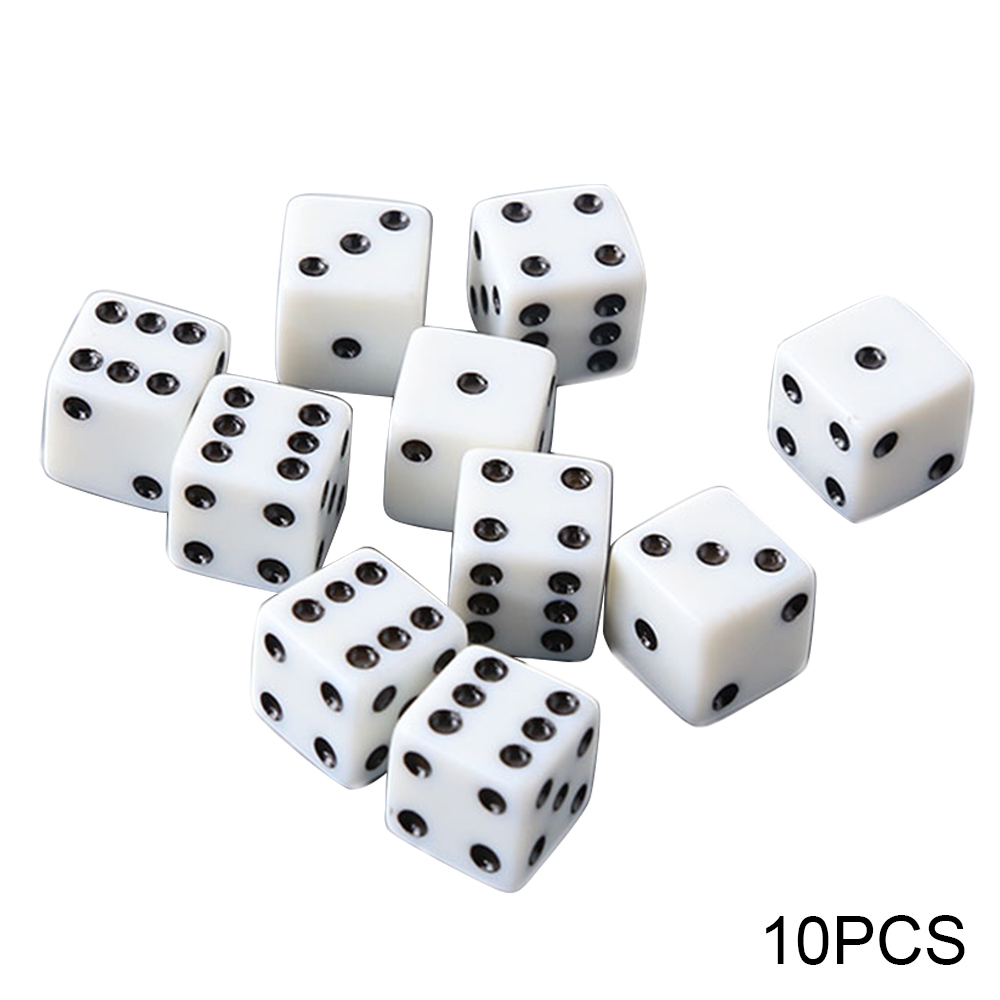 Set Of 10 Six Sided Square Opaque 12mm D6 Dice - White  Dice Dices Six Sided Standard Die Game Accessories White With Black Pips