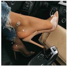Zapatos de tacón alto para mujer, sandalias transparentes de Pvc con palabra, stilettos, Color Nude, Bly1635 36, marca de lujo, novedad de 2020
