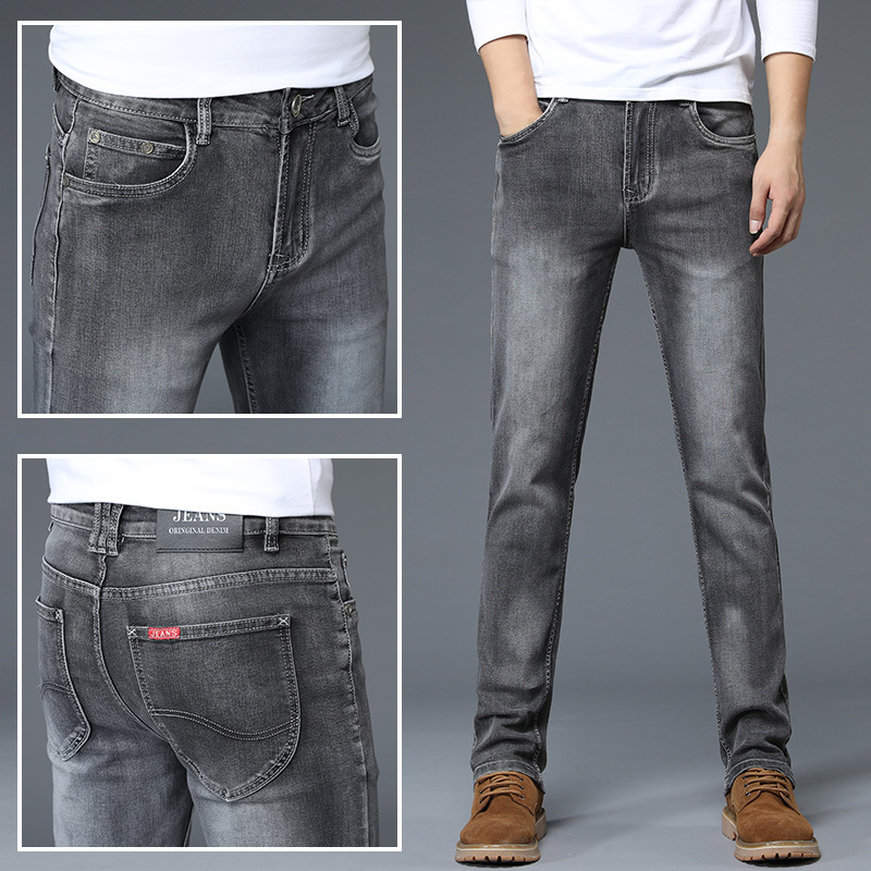 Men Fashion Gray Jeans Autumn New Style Loose Straight Youth Elasticity Slim Fit Versatile Casual Fashion
