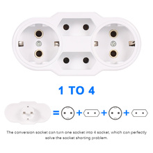 Power Adapter New Traveling EU Plug Professional Conversion Socket 1 TO 4 Way EU Standard  Socket Outdoor Socket AC 110~250V