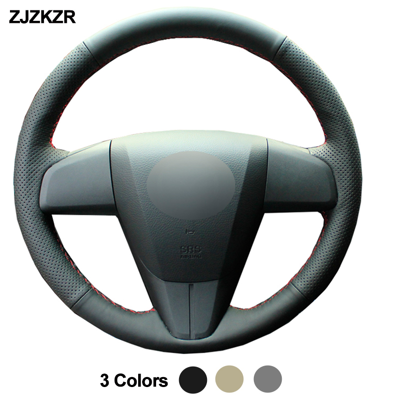 Car Auto Steering-Wheel Cover For <font><b>Mazda</b></font> 3 Axela 2010 - 2013 <font><b>Mazda</b></font> 5 <font><b>Mazda</b></font> 6 <font><b>CX</b></font>-7 <font><b>CX</b></font>-<font><b>9</b></font> Mazdaspeed3 (US) Funda Volante <font><b>2011</b></font> 2012 image