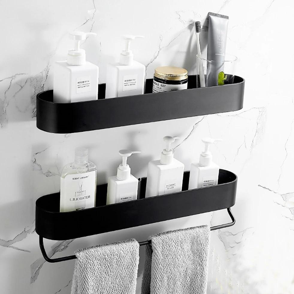Shower Caddy Black Bathroom Shelf With Bar 30 40 50cm Kitchen Balcony Floating Shelves Basket Bath Storage Rack Towel Bar Bathroom Shelves Aliexpress