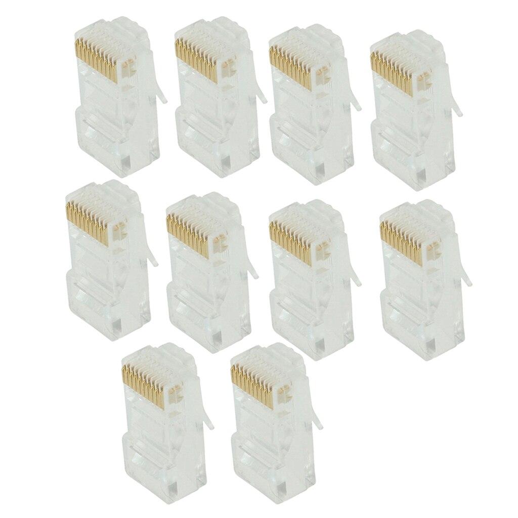 10 Pack Keystone Jack CAT5 White Network Ethernet Punchdown 10P10C RJ50