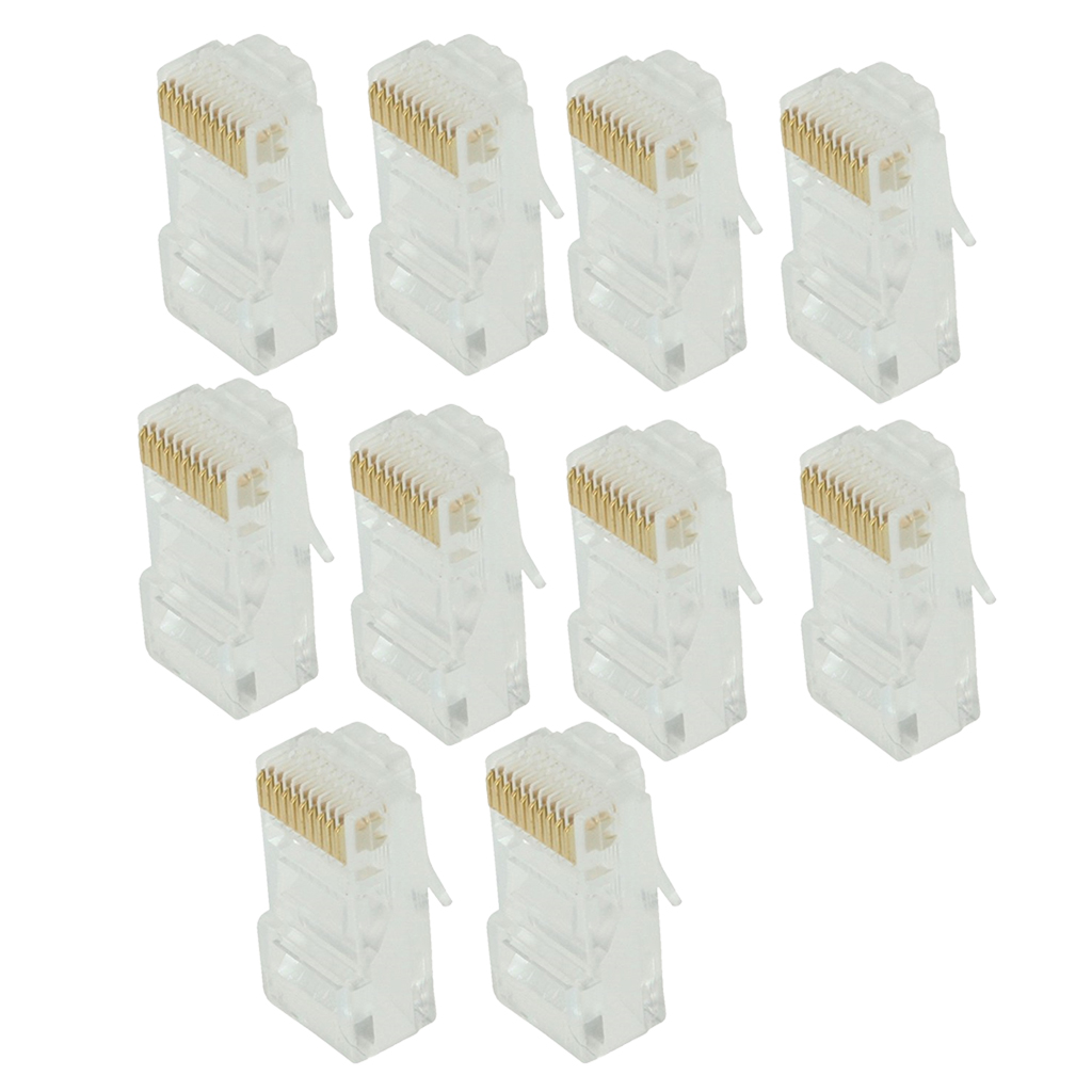 10 Pack Keystone Jack CAT5 White Network Ethernet Punchdown <font><b>10P10C</b></font> RJ50 image