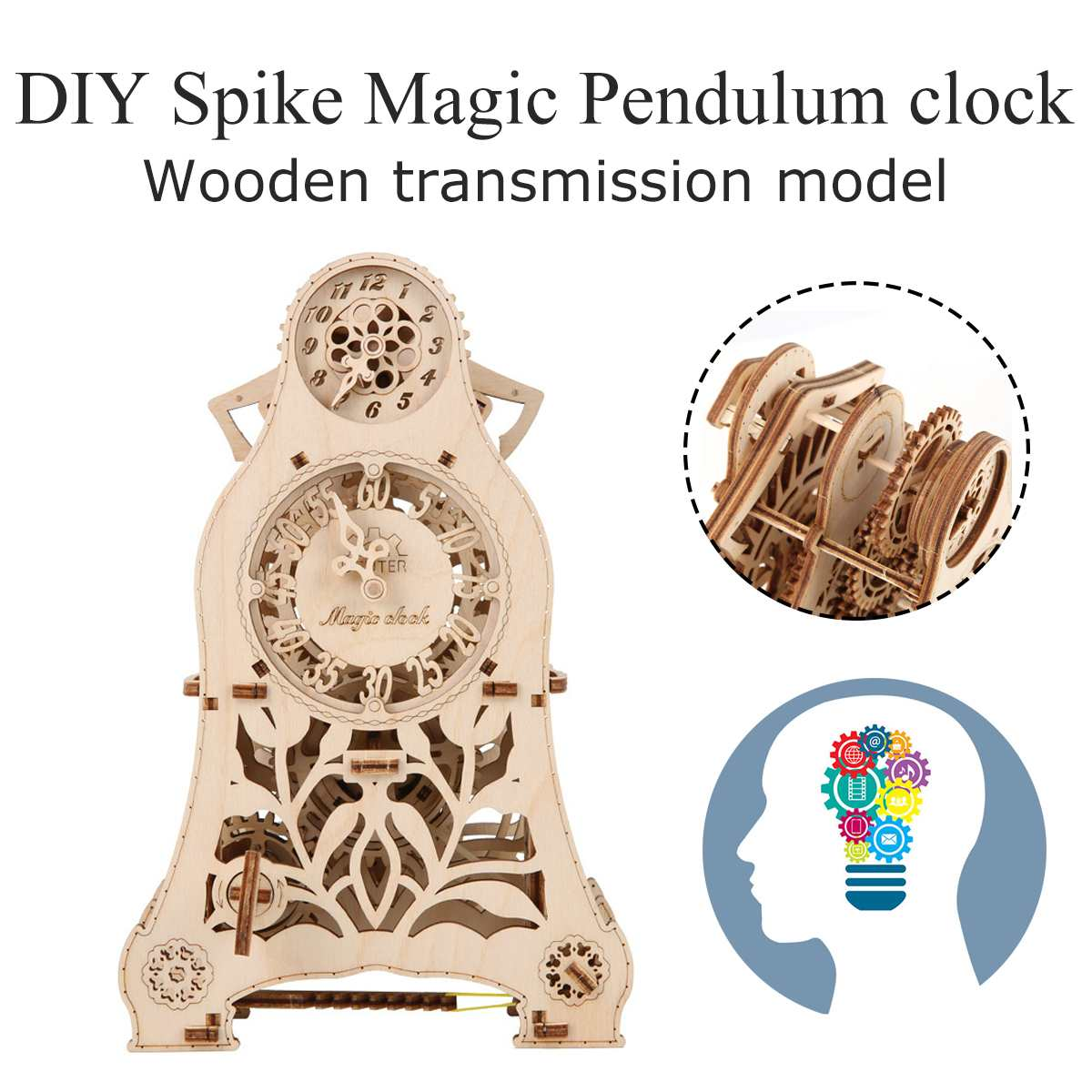 3D Puzzle Creatives Toys Wooden Magic Pendulum Clock Model Building Kits Toys Gift For Children Adult