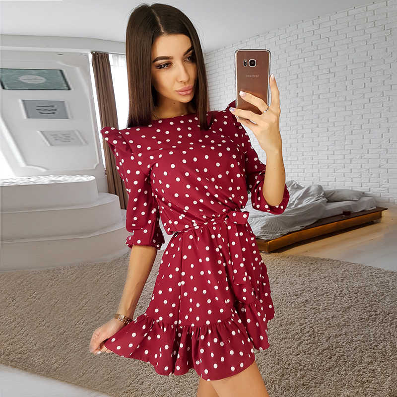 Fashion Ruffle Trim Sashes Women Dress Autumn 3/4 Sleeves Round Neck Dot Print Casual Dress Girls Sweet Cute A Line Mini Dresses