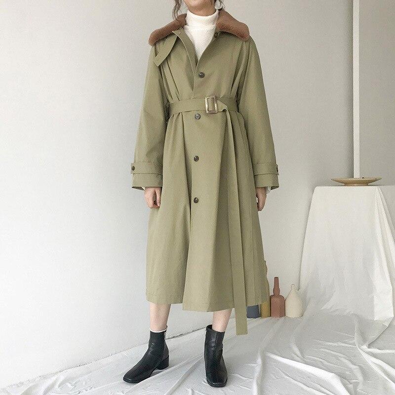 New Arrival Patchwork Fur Women's Windbreaker Lapel Collar Long Sleeve Straight   Trench   Coats Female 2019 Autumn Winter New