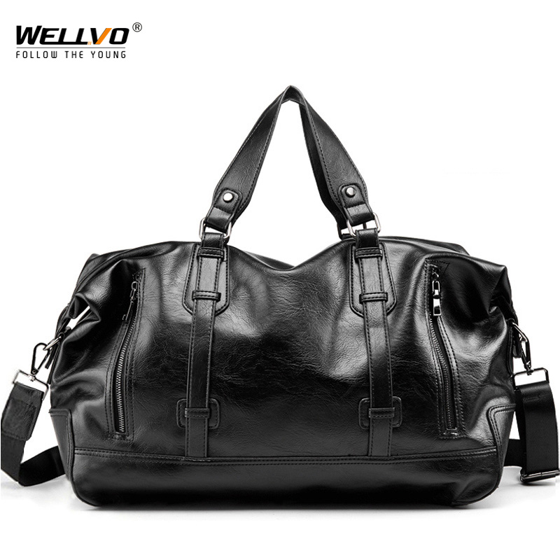 Men Travel Duffle Bag Waterproof Large Capacity PU Leather Luggage Handbag Men's Shoulder Women Weekend Travelling Bags XA78WC