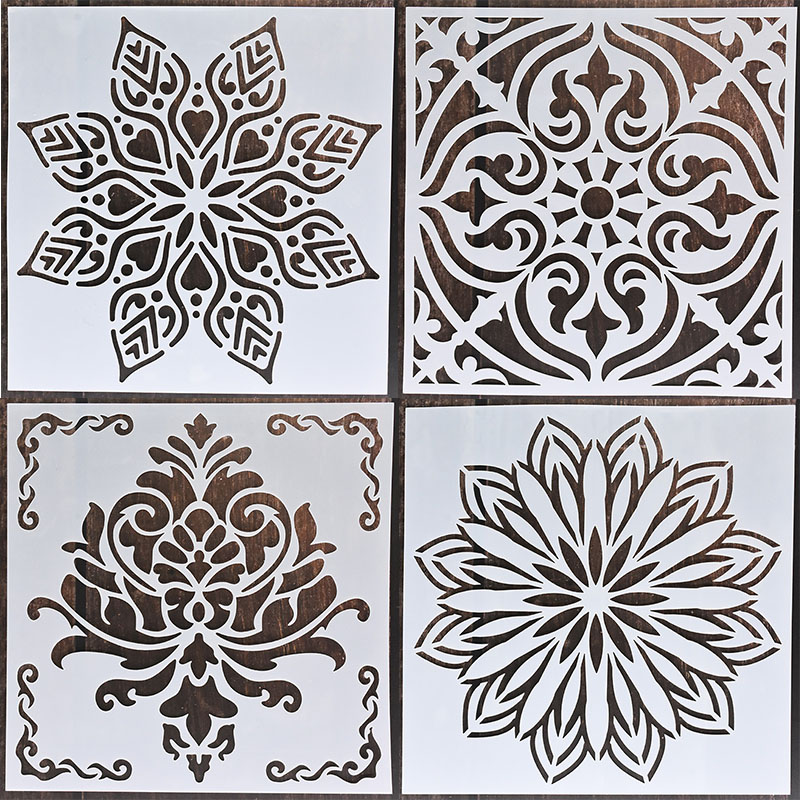 1pc 15*15 Mandala Stencils DIY home decoration drawing Laser cut template Wall Stencil Painting for Wood Tiles Fabric 2