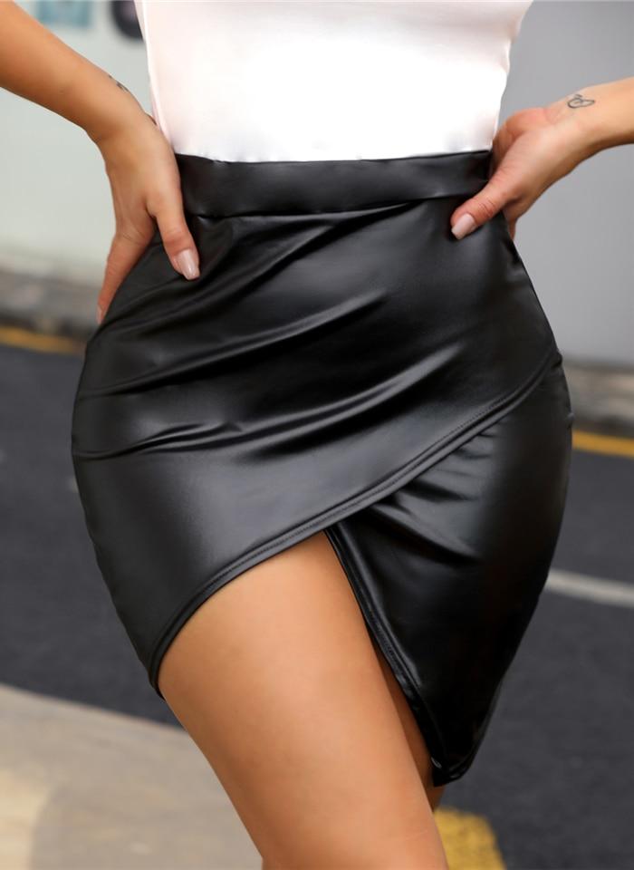 2019 Women Fashion Sexy Black Wrap Solid Asymmetrical Bodycon Skirt Slim Fit High Waist Surplice PU Slinky Skirt