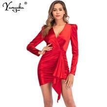 Сексуальное Красное сатиновое платье пышное бодикон с длинным