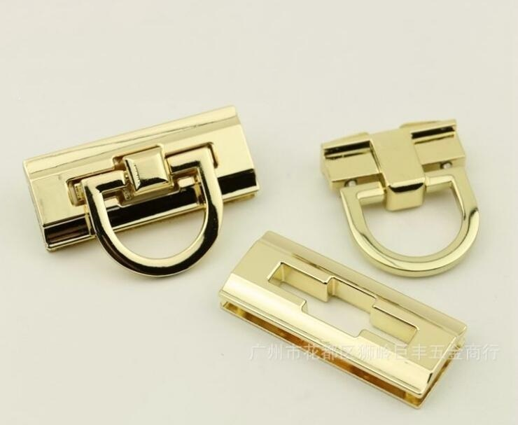 (10 Pcs/lot) Wholesale Handbag Hardware Accessories New Handbags High-grade Plating Rectangular Plug Lock Accessories