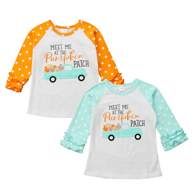 Best Halloween Toddler Baby Kids Girl Meet Me At The Pumpkin Patch Long Sleeve Tops Cotton T-shirt Thanksgiving Cosutme