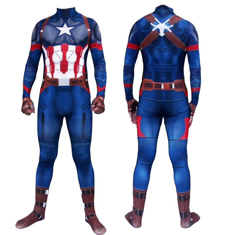 Captain America Cosplay Costume Steve Rogers Costume Digital Printing Zentai Jumpsuits Avengers Endgame Adults Kids Bodysuit