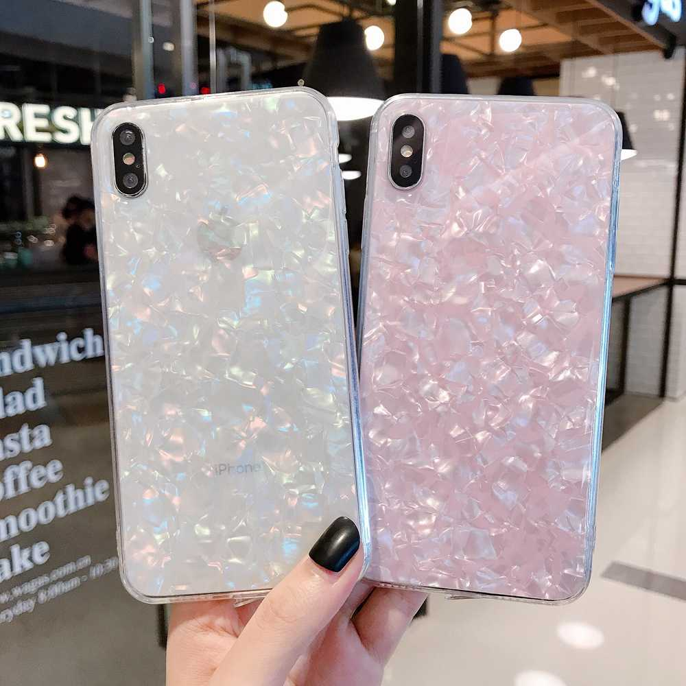 Shell parel Case Voor iphone 6 7 8 Plus 11 Pro X XS Max XR Glitter Bling Epoxy Sparkle Crystal Clear Soft TPU Glossy Marmer Cover