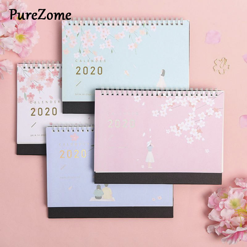 Beautiful Cherry Pattern Standing Paper 2020 Double Coil Calendar Memo Daily Schedule Table Planner Yearly Agenda Desk Organizer