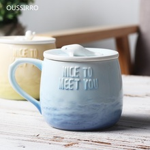 OUSSIRRO Novelty Creative Ceramic Mug With Lid  With Spoon Note Milk Juice Mug Coffee Tea Cup Home Office Drinkware Nice Gifts мини мойка nilfisk c 100 7 5 eu 128470902