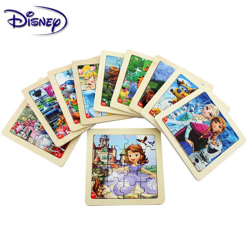 Disney Frozen Princess Mickey Printed Puzzle Learning Education Interesting Wooden Toys For Children Kids Gift Brinquedos