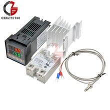 REX-C100 régulateur de température PID numérique régulateur Thermostat thermomètre sortie SSR + 40A relais SSR + sonde Thermocouple K
