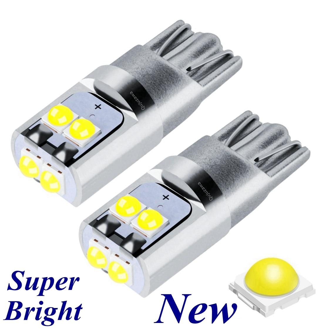 2 uds nuevo T10 W5W súper brillante Cree Chip LED cuña aparcamiento bombillas coche lámparas de lectura de cúpula WY5W 168 501 2825 Auto girar luces laterales