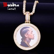 Baguette zircon feito à medida foto medalhões colar & pingente com 4mm tênis corrente cor de ouro dos homens hip hop rock jóias