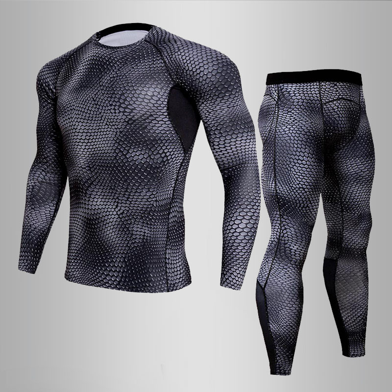 Warm Men's Tracksuit Compression Thermal Underwear Men Underwear Sets Quick Drying Gym Fitness Clothing Sport Leggings Shirt