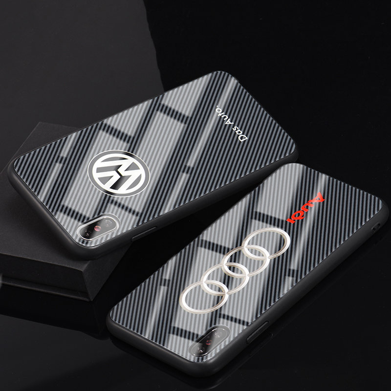 JASTER car logo PC TPU Tempered Glass Mobile Phone Cases for iPhone 6 6S X XR XS Max 10 7 8 Plus Bags Shell