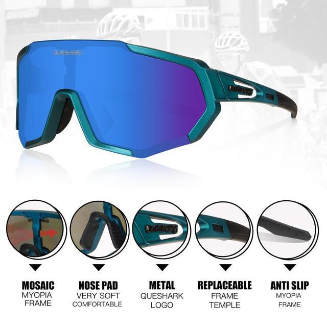 Queshark 2020 nova polarizada óculos de ciclismo para homem mulher bicicleta óculos ciclismo óculos de sol 3 lente espelhada uv400 mtb qe48 3