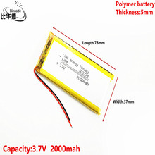 3.7V,2000mAH 503778 Polymer lithium ion / Li ion battery for tablet pc BANK,GPS,mp3,mp4