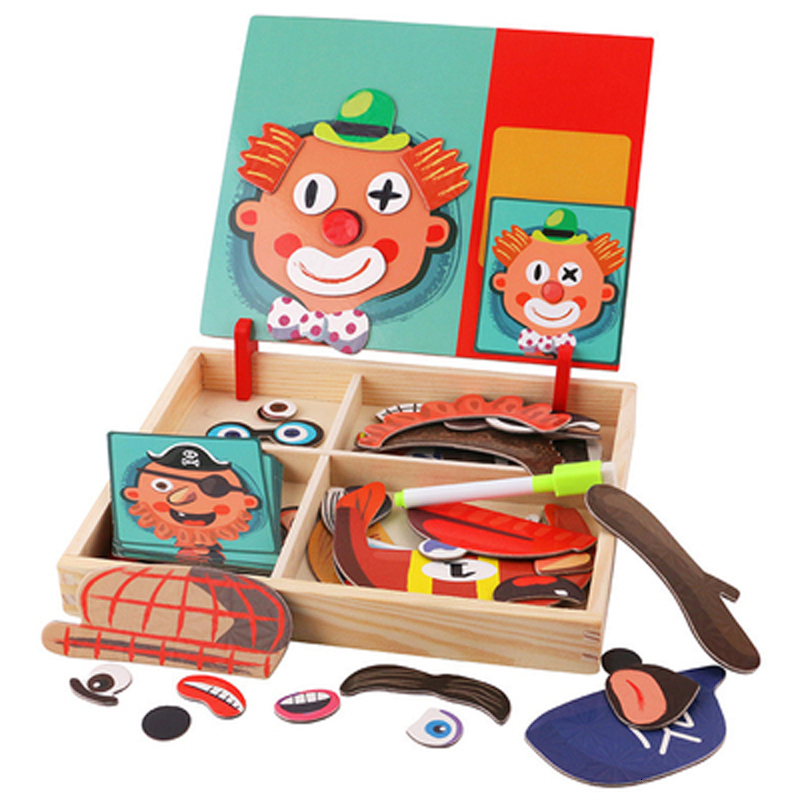Wooden Magnetic Puzzles Educational Toys Puzzle Cognitive Pairing Beneficial Intelligence Magnetic Paste Face Feature Wooden Toy