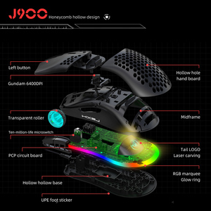 Image 3 - HXSJ J900 USB Wired Gaming Mouse RGB Gamer Mouses with Six Adjustable DPI Honeycomb Hollow Ergonomic Design for Desktop Laptop