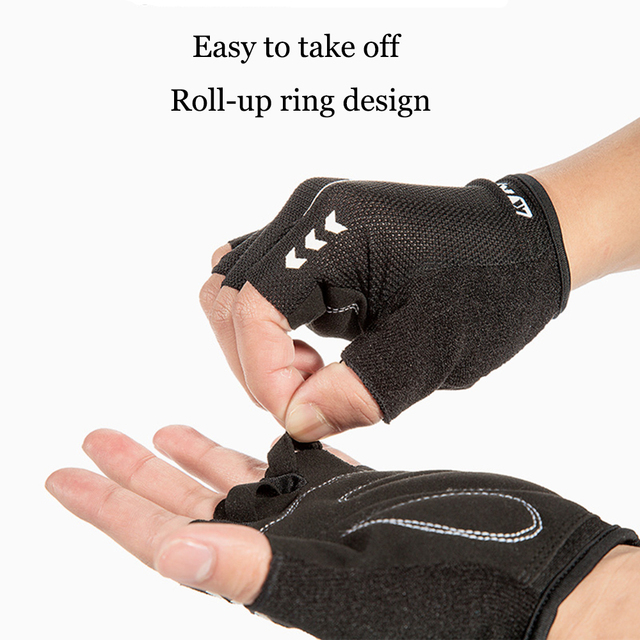 Luvas para ciclismo mtb, luvas para bicicleta sem dedos respiráveis com absorção de impacto para esportes 4