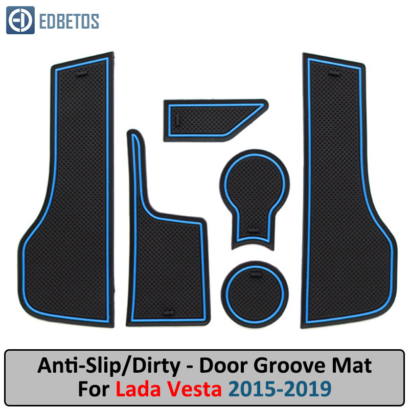 Door Groove Mat For LADA VESTA 2015 2016 2017 2018 2019 Anti-Slip Mat Gate Slot Coaster Anti-Dirty Mat