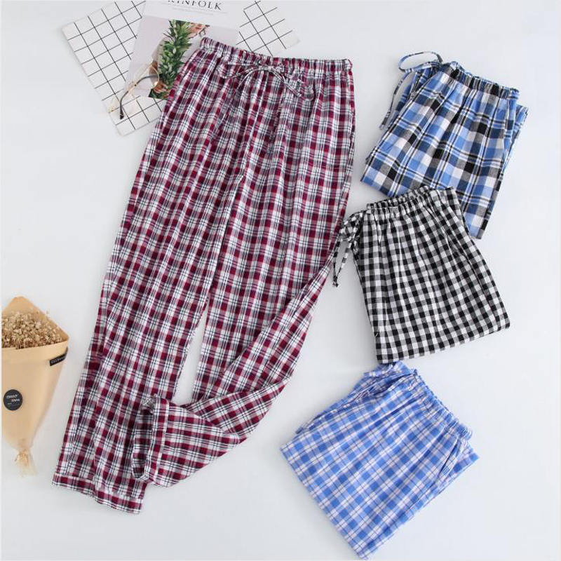 Spring Men'S Woven Cotton Plaid Home Pants Old Denim Pajamas Loose Summer Air-Conditioned Room Casual Wear Trousers Пижам